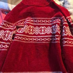 Red and white ugly Christmas sweater